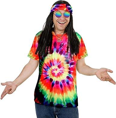 Juego de 5 Piezas de Disfraz Hippie Colorido, Tie-Dye, Camiseta, símbolo de la Paz, Collar de anteojos de Sol, Corona de Flor, Diadema para Mujeres y ...