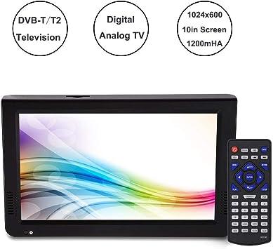 TV portátil, 10 Pulgadas 1024 x 600 PVR DVB-T/DVB-T2 Televisión Digital analógica con batería de 1200 mAH, Compatible con Video RMVB/AVI/MPEG/MKV/MOV 1080P, música MP3/WMA: Amazon.es: Electrónica