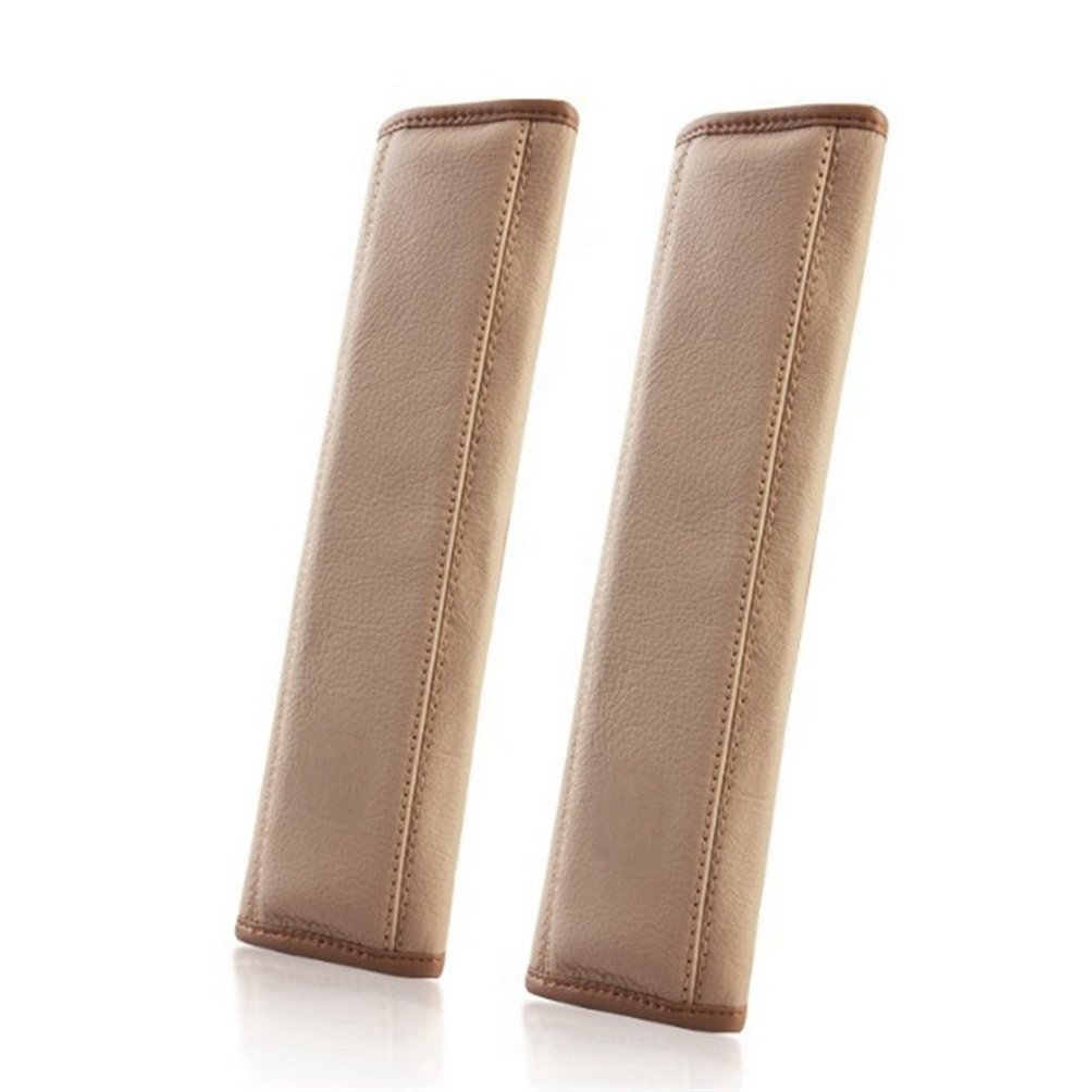 Dotesy 2Pcs Leather Car Seat Belt Cover Shoulder Pads, Luxury Auto Seatbelt Strap Cover Protector Harness Pads Neck Cushion,Beige