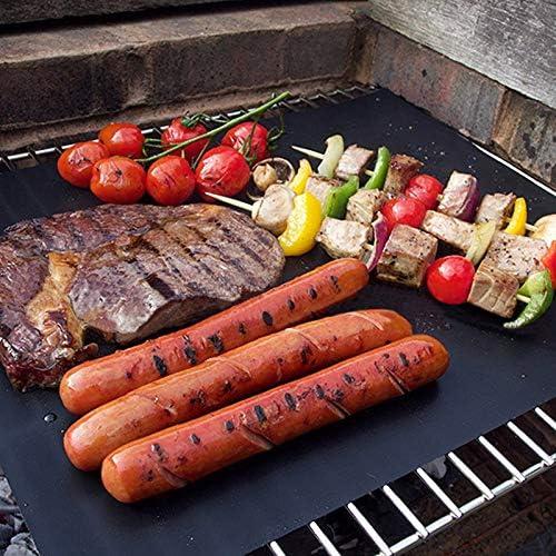 anruo Plaque de Cuisson Haute température 40 * 33cm napperon antiadhésif Tapis de Barbecue Grill Barbecue Garni de Tapis Alimentaire réutilisable