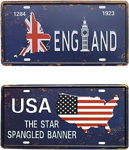 bowzwowz England USA Rural Vintage Metal Tin Sign, Retro 3D Embossed License Plates, Garage Home Bar Wall Decor