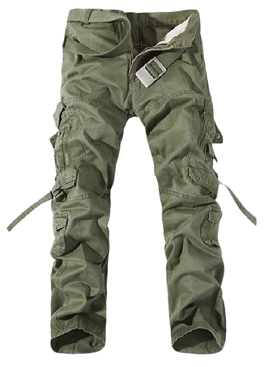 Winwinus Men Washed Relaxed Cotton Solid Multi Pockets Combat Rip-Stop Pants