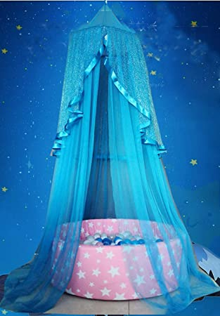 con dise/ño de estrellas azules Tienda de campa/ña para ni/ñas rosas y blancas mosquitera para habitaci/ón de los ni/ños