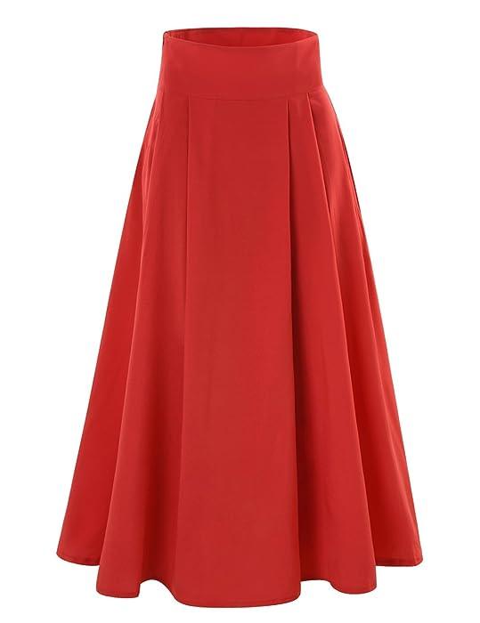 YITL Women's A-line Flared Long Skirt High Waist Shirring Maxi ...