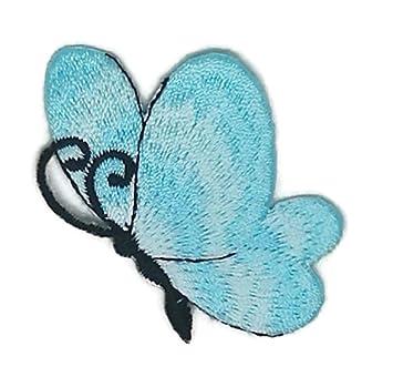Pequeño tamaño azul mariposa dibujos bordados para coser, planchar sobre bordado, para manualidades,