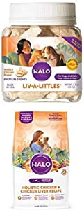 Halo Liv-A-Littles Grain Free Natural Dog Treats & Cat Treats, Freeze Dried Chicken Breast, 2.2-Ounce Plus Halo Natural Dry Cat Food, Chicken & Chicken Liver Recipe, 6-Pound Bag