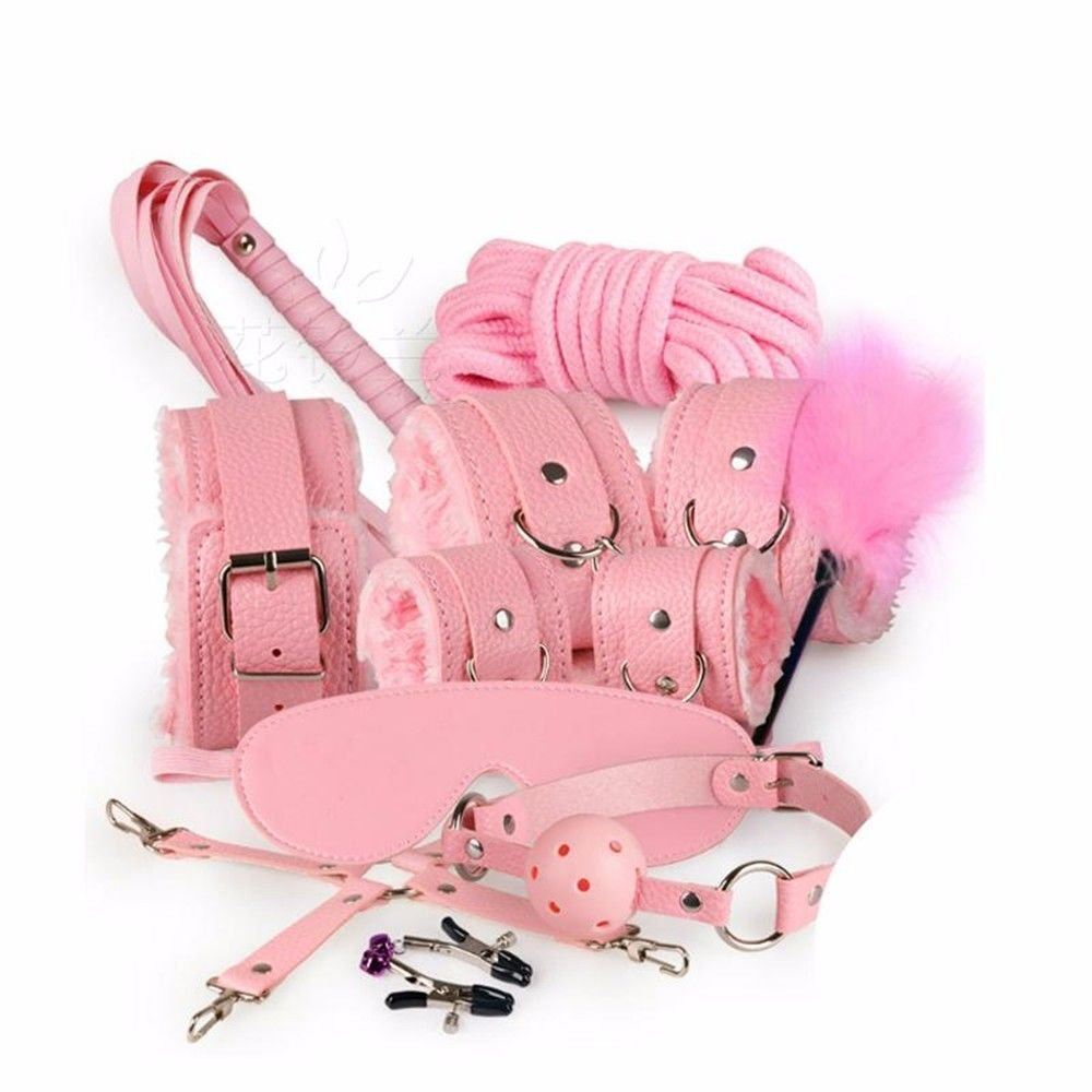 Eer2O Leather 7 Piece Set Pink Beds Women Men Bedroom Adults Erotic Lingerie B/D/S/M Set Love Toy Sexy Game Couple