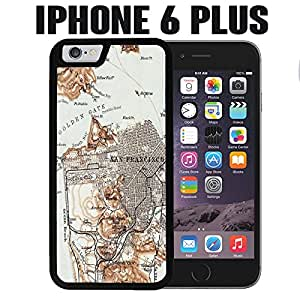 iPhone Case Vintage San Franciso Map for iPhone 6 PLUS Plastic Black (Ships from CA)