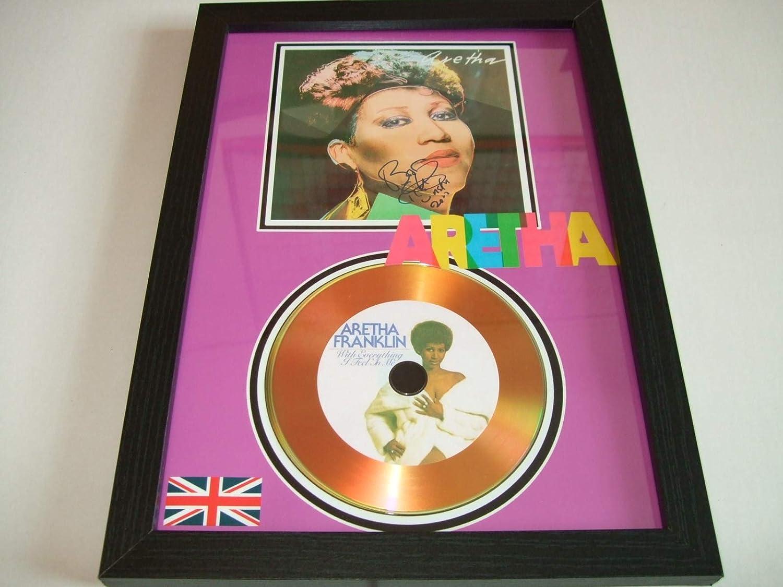 gold disc frames Aretha Franklin dédicacé Disque d'or home disc