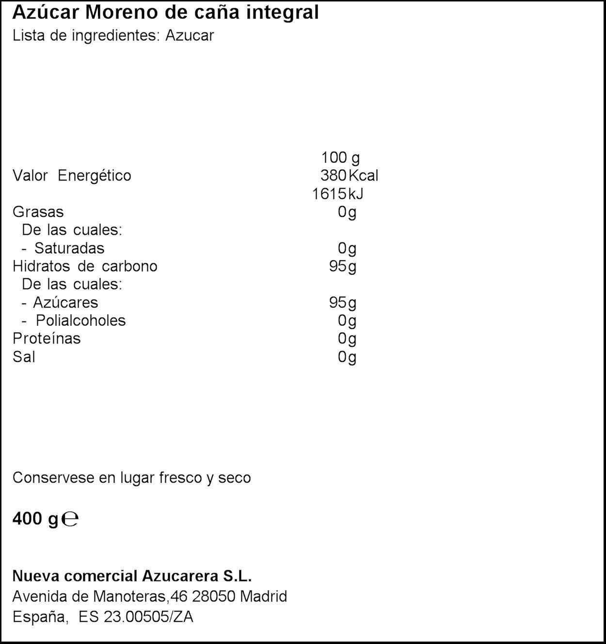 Azucarera - Estuche 50 sobres (8grs) de Azúcar Moreno 400 g: Amazon.es: Alimentación y bebidas