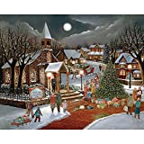Bits and Pieces – 300 Large Piece Jigsaw Puzzle for Adults – Spirit of Christmas – 300 pc Holiday Church Jigsaw by Artist H. Hargrove
