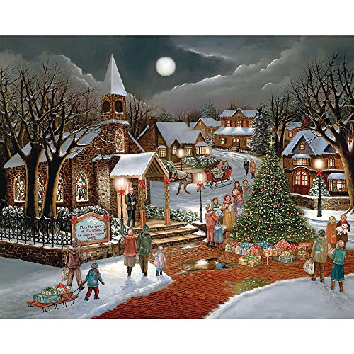 Bits and Pieces - 300 Piece Jigsaw Puzzle for Adults - Spirit of Christmas - 300 pc Holiday Church Jigsaw by Artist H. (Adult Christmas)