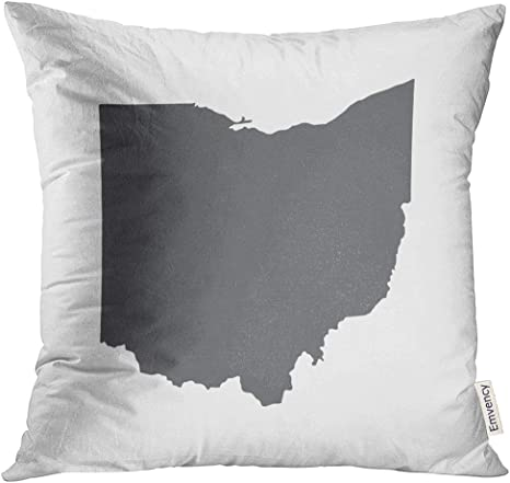 Amazon Com Vanmi Throw Pillow Cover Cleveland Ohio Grey State Border Map Toledo Abstract Decorative Pillow Case Home Decor Square 18x18 Inches Pillowcase Home Kitchen