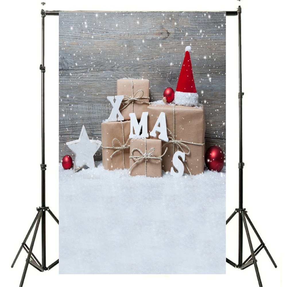 DODOING 3x5ft Christmas Gifts Red Hat Balls Theme Photography Backdrop Snowing Wood Wall White Blanket Floor Photo Studio Background Props 0.9x1.5m