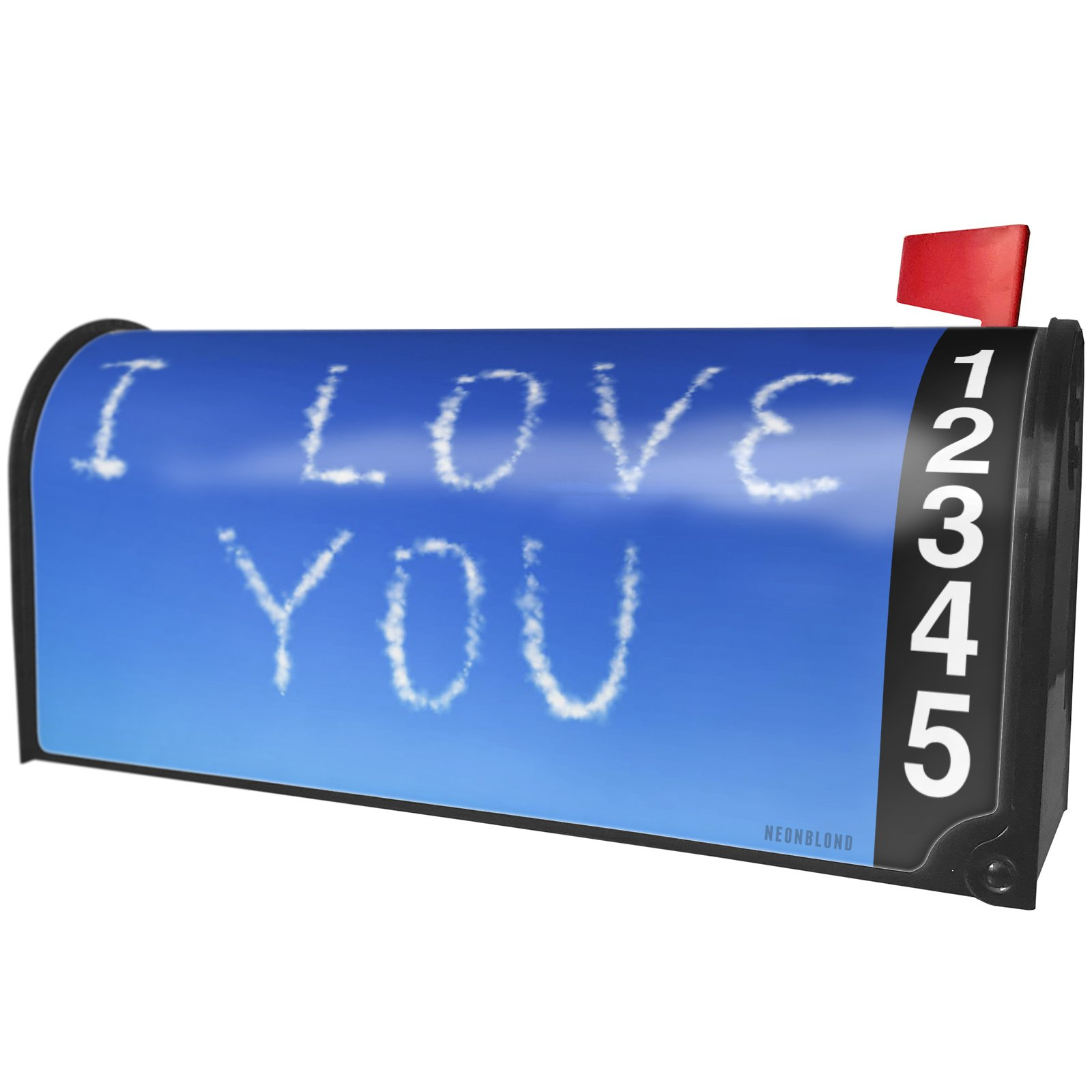 NEONBLOND I Love You Clouds Fresh Air Magnetic Mailbox Cover Custom Numbers