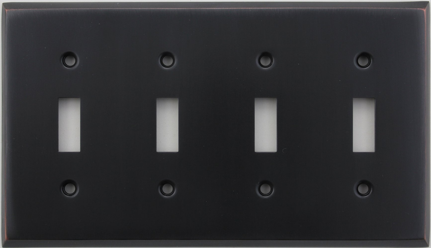 Classic Accents Stamped Steel Oil Rubbed Bronze Four Gang Toggle Light Switch Wall Plate