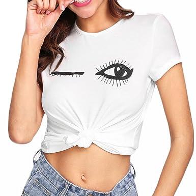 3c253c8a4 Oksale Baby Girl s Pure Eye Eyelash Print T-Shirt Short Sleeve Tops ...