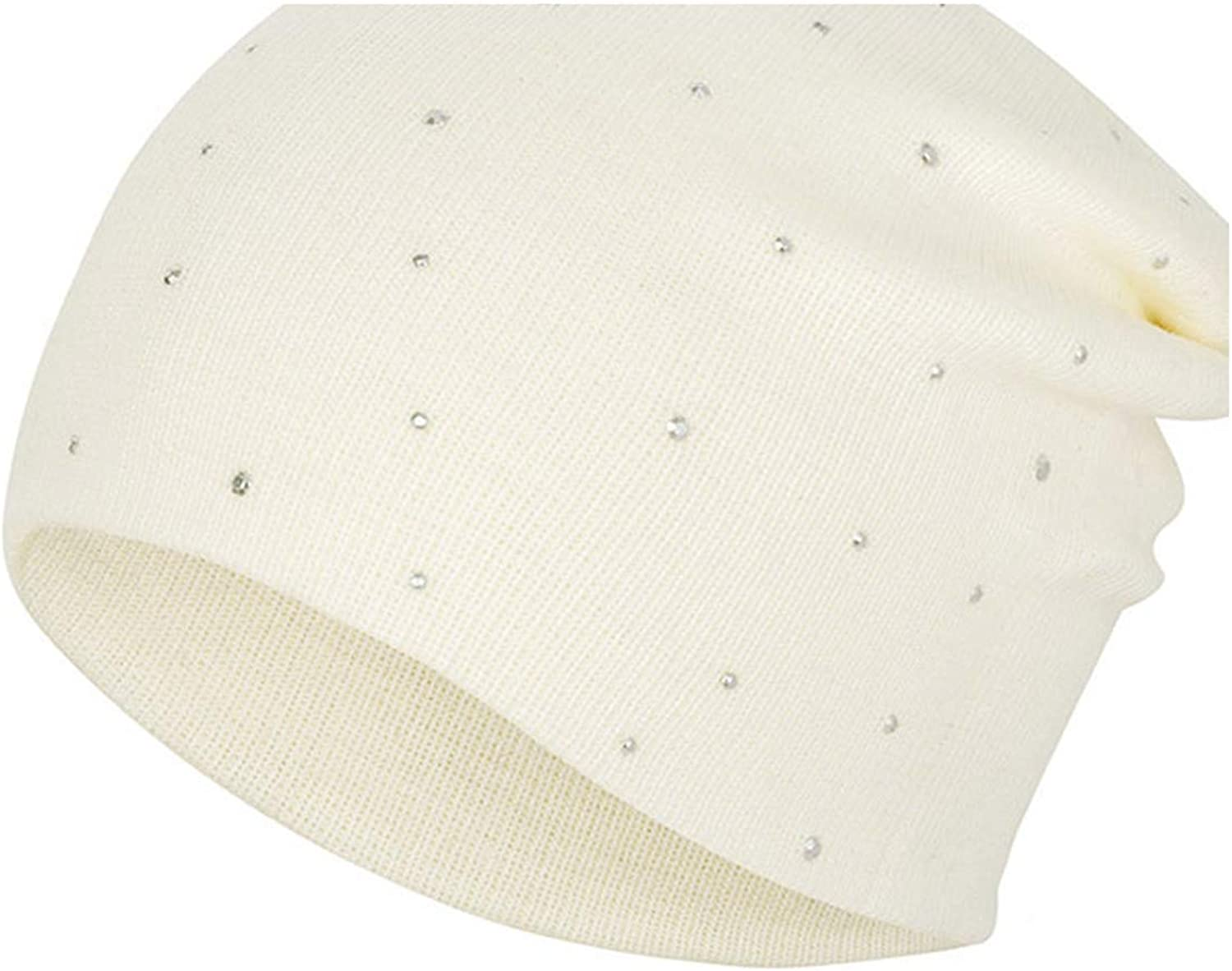 Krystal/_beautiful Pearl Autumn Winter Hat Women Skullies Beanies Solid Color Knitted Cotton Caps