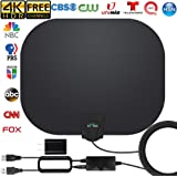 [Latest 2020] HDTV Antenna - Newest Indoor Digital TV Antenna 130+ Miles Range with Amplifier Signal Booster 4K HD Free Local Channels Support All Television -16.5ft Coax Cable