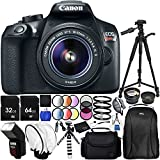Canon EOS T6 with EF-S 18-55mm f/3.5-5.6 IS II Lens 20PC Accessory Bundle – Includes 72 Tripod + 64GB SD Memory Card + Digital Slave Flash + Remote Shutter Release + Professional Backpack + MORE