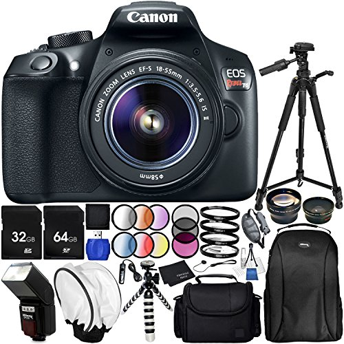 Canon EOS T6 with EF-S 18-55mm f/3.5-5.6 is II Lens 20PC Accessory Bundle – Includes 72″ Tripod + 64GB SD Memory Card + Digital Slave Flash + Remote Shutter Release + Professional Backpack + More For Sale