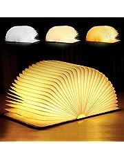 Tronisky LED Buchlicht Faltbare Buchlampe LED Stimmungsbeleuchtung in Buch Form mit 3 Lichtmodi, Dekorative Tischlampe Nachttischlampe USB Wiederaufladen, aus Holz und Wasserdicht Papier