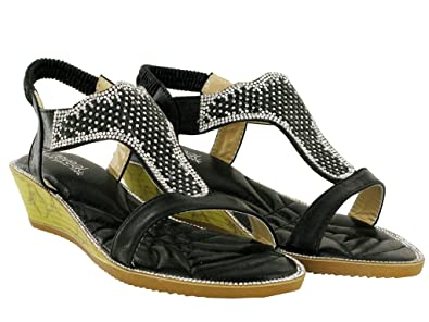 7eb448bee Ladies Low Wedge Stone Strapy Heel Women Design Sandal UK Sizes 3-8 ...