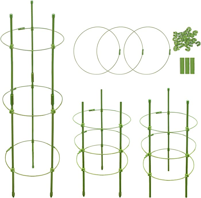 Plant Support,Tomato Cages for Garden,Garden Stakes for Plants, Plant Cages with 3 Adjustable Rings,Plant Stake for Supporter Climbing Plants,Slip and Shock Resistant(18 inches,pack of 4)