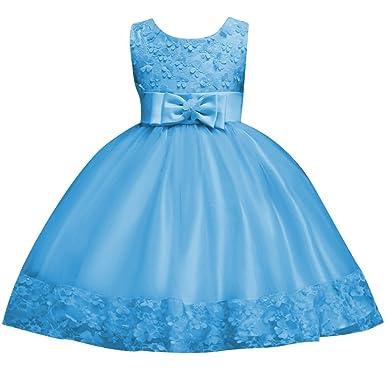 8b1020fea5e8a Qitun Enfant Filles Robe Mariage Demoiselle Robe Bustier Noeud Papillons  Tulle Jupe Longue Organza  Amazon.fr  Vêtements et accessoires