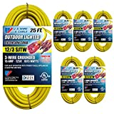 US Wire 74025 12/3 25-Foot SJTW Yellow Heavy Duty Lighted Plug Extension Cord (6-pack)