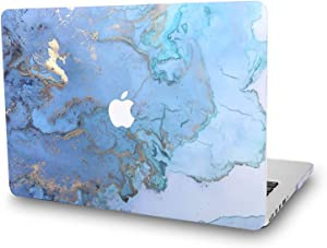 Case for MacBook Air 11.6 Inch Model: A1465/A1370 - L2W Plastic Printed Protective Hard Embossed on Pattern Cover, Marble Design Blue