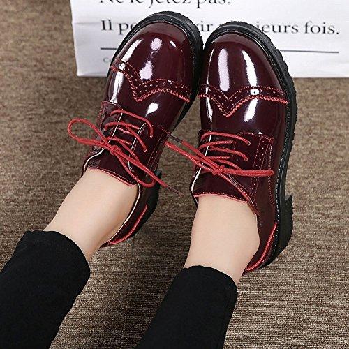 Zapatos Oxford Zapatos Británicos con un Solo Zapato con un Pequeño Calzado de Cuero , rojo , EUR37