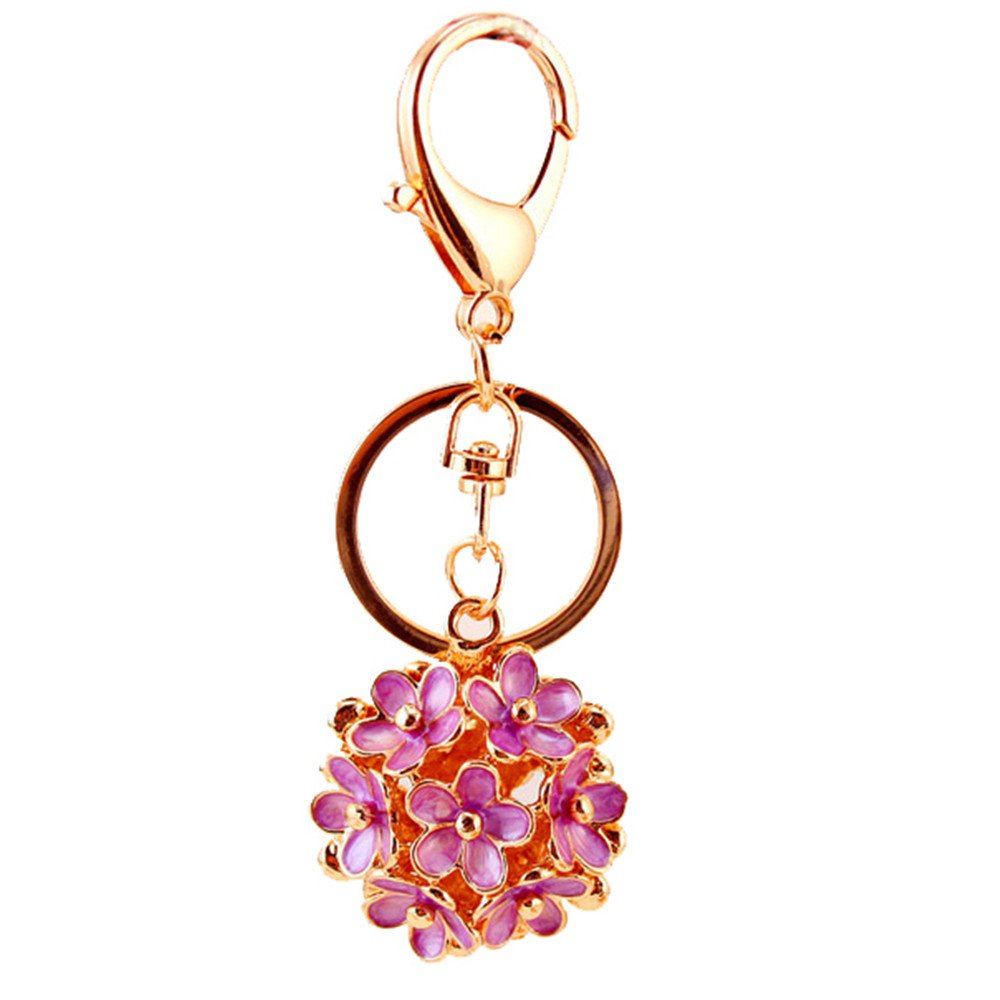 Kissweet Fashion Women Little Daisy Flower Ball Keychain Bag Pendant Charms (Purple)
