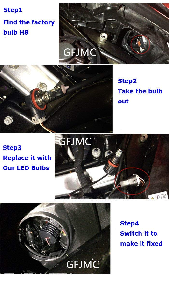 H8-40W HK Ltd 4350384122 Industrial CO Global Fortune GFJMC 40W H8 CREE LED Angel Eye 360-Degree Halo Bulb Light Lamp 6000K Xenon White For BMW E60 E61 E90 E92 E70 E71 E82 E89 3 5 7 Series X5 X6 Z4