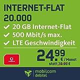 mobilcom-debitel Internet-Flat 20.000 im Vodafone Netz (24,99 EUR monatlich, 24 Monate Laufzeit, 20 GB Internet-Flat, LTE mit max. 500 MBit/s, EU-Roaming-Flat, Triple-Sim-Karten)