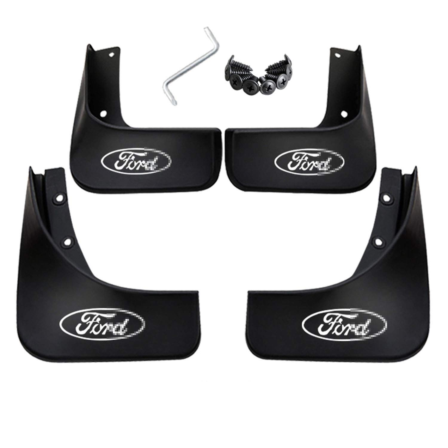 Front & Rear Molded Splash Guard Fender White Logo Car Mudguard Mud Flaps Cover for Mondeo 2007-2013 Hireno