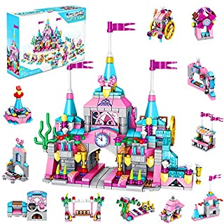 U & I Direct Castle Playset Toys for Girls - 25 in 1 Pink Princess Castle Building Kit- 566 PCS Construction Building Blocks Toy for Kids Ages 4-12 for Birthday Game Party Favor Christmas Craft Gifts