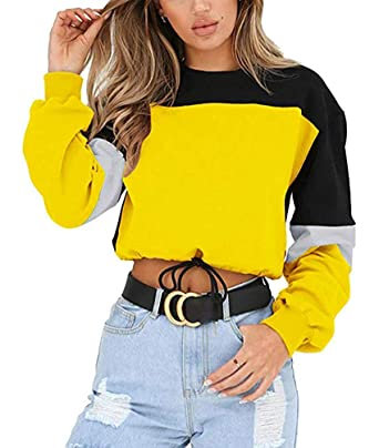b72714d600c56f Color Block Splice Pullover Vintage Long Sleeve Sweatshirt Crop Top Blouse  Yellow