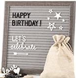 Felt Letter Board Message Sign – Bonus Cursive Words & Celebration Pack, Emojis, 10x10 Grey Changeable Letterboard, 480 Black & White Characters, Wall & Tabletop Display, 2 Bags & Gift Box