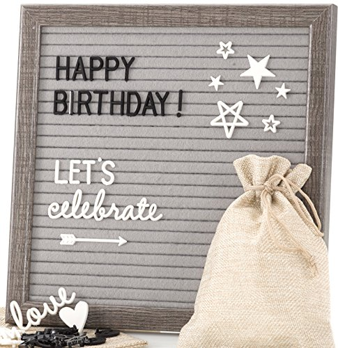 (Felt Letter Board Message Sign - Bonus Cursive Word Pack, 640 Black & White Characters, 10x10 Grey Changeable Letterboard, Wall & Tabletop Display, 2 Storage Pouches & Gift Box (Original)