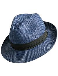 Sedancasesa Women and Men's Straw Fedora Panama Beach Sun Hat Black Ribbon Band