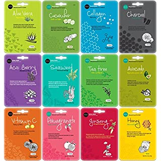 Celavi Collagen Facial Face Mask (12-Sheets) Classic Korean Skincare | Lighten, Moisturize, Tighten Skin | Diminish Dark Spots & Circles | Whiten, Brighten, Balance Pigmentation