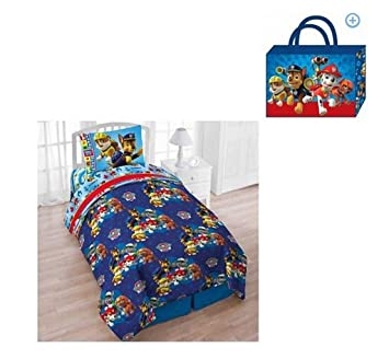 Nickelodeons Paw Patrol Pups Save The Day Twin 4-Piece Bedding Comforter Set with Bonus Tote