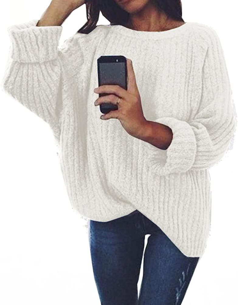 Womens Crew Neck Loose Long Sleeve Knit Pullover Sweater Top Jumper