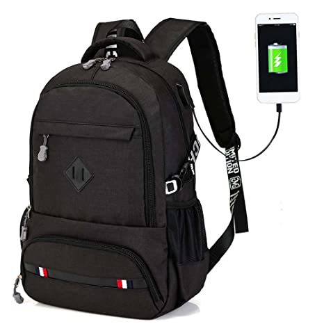f9007605495d Large Capacity Backpack with USB Charging Port Mobile Charger for Men  (Black)