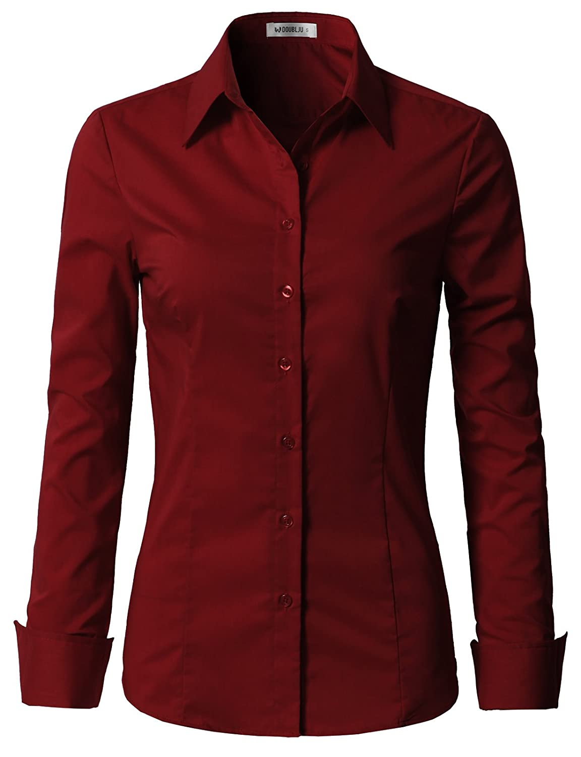 24bd6f68a9c  CWTDSL01 - Womens Basic Slim Fit Stretchy Cotton Button Down Shirts With Plus  Size Features Button Down Front