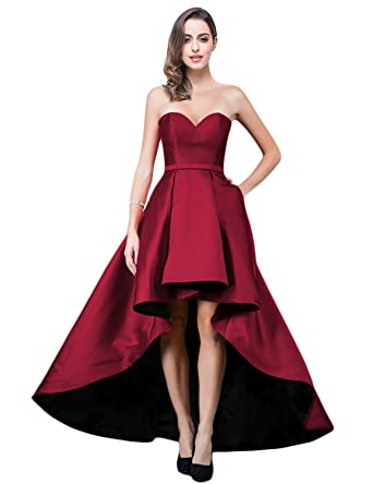 9f66df2e17e OYILAN High Low Satin Prom Dress Elegant Sweetheart Neckline Dress ON006 at  Amazon Women's Clothing store: