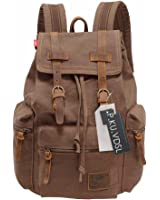 Amazon.com: Kattee Men's Leather Canvas Backpack Large School Bag ...