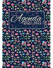 Agenda 2021-2022: semainier et calendrier de juin 2021 à juillet 2022 - 1 semaine sur 2 pages - grand format A4 - motif fleuri
