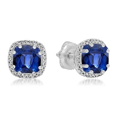 97cc9dcbb Dazzlingrock Collection 14K 6 MM Cushion Lab Created Blue Sapphire & Round  Diamond Ladies Halo Stud